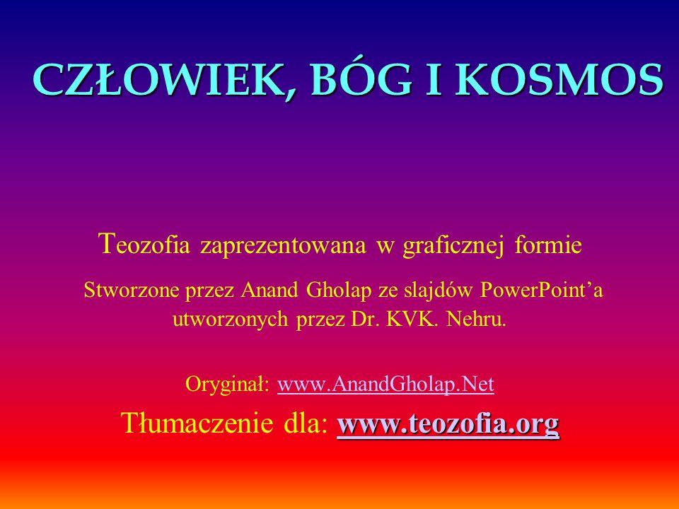 CZŁOWIEK, BÓG I KOSMOS T eozofia zaprezentowana w graficznej formie Stworzone przez Anand Gholap ze slajdów PowerPointa utworzonych przez Dr. KVK. Neh