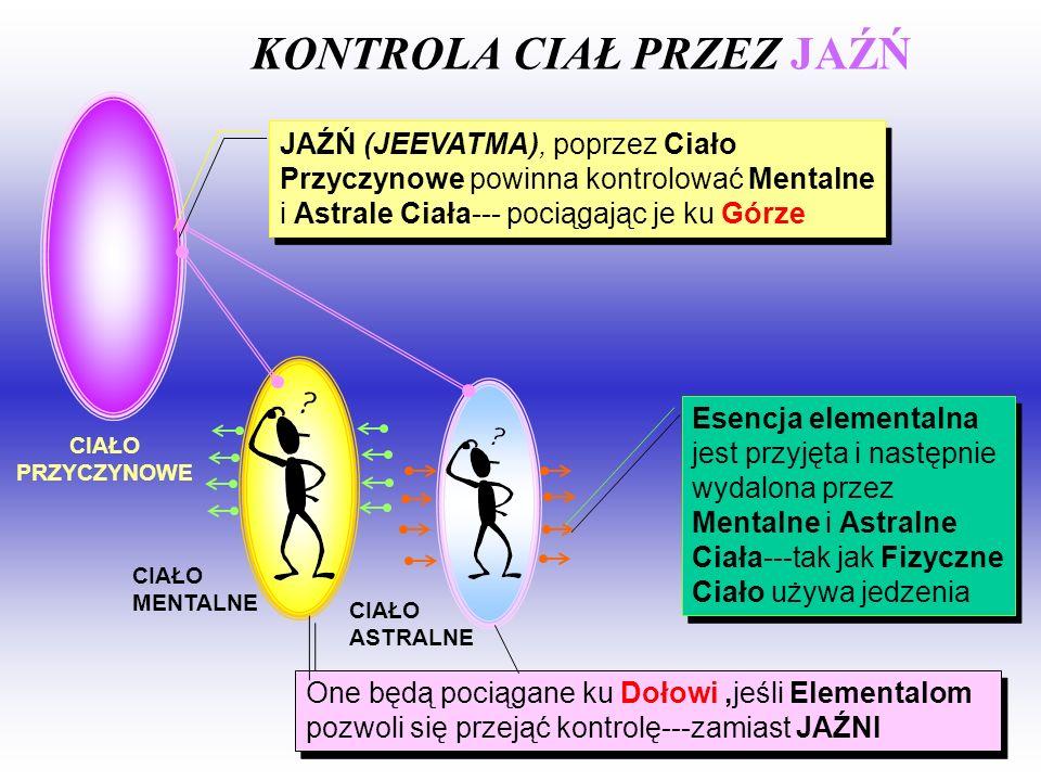 JAŹŃ (JEEVATMA), poprzez Ciało Przyczynowe powinna kontrolować Mentalne i Astrale Ciała--- pociągając je ku Górze Esencja elementalna jest przyjęta i