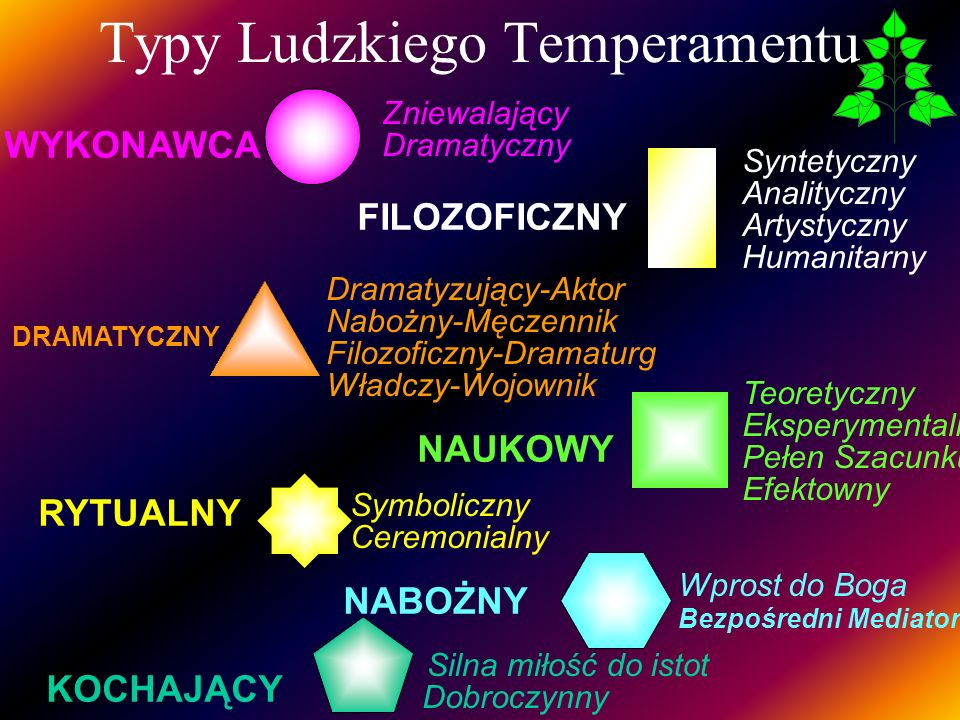 WYKONAWCA Zniewalający Dramatyczny Typy Ludzkiego Temperamentu FILOZOFICZNY Syntetyczny Analityczny Artystyczny Humanitarny Teoretyczny Eksperymentaln