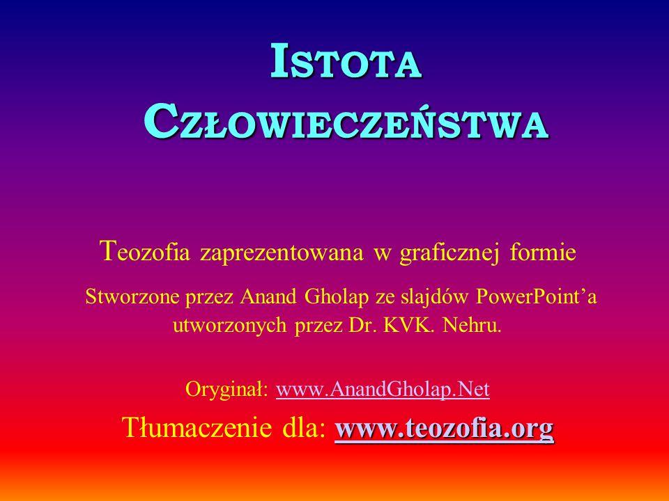 I STOTA C ZŁOWIECZEŃSTWA T eozofia zaprezentowana w graficznej formie Stworzone przez Anand Gholap ze slajdów PowerPointa utworzonych przez Dr. KVK. N