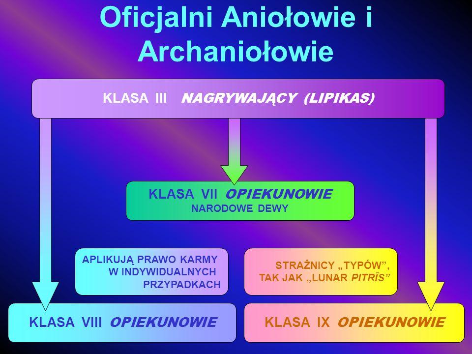 Oficjalni Aniołowie i Archaniołowie KLASA III NAGRYWAJĄCY (LIPIKAS) KLASA VIII OPIEKUNOWIE APLIKUJĄ PRAWO KARMY W INDYWIDUALNYCH PRZYPADKACH KLASA IX