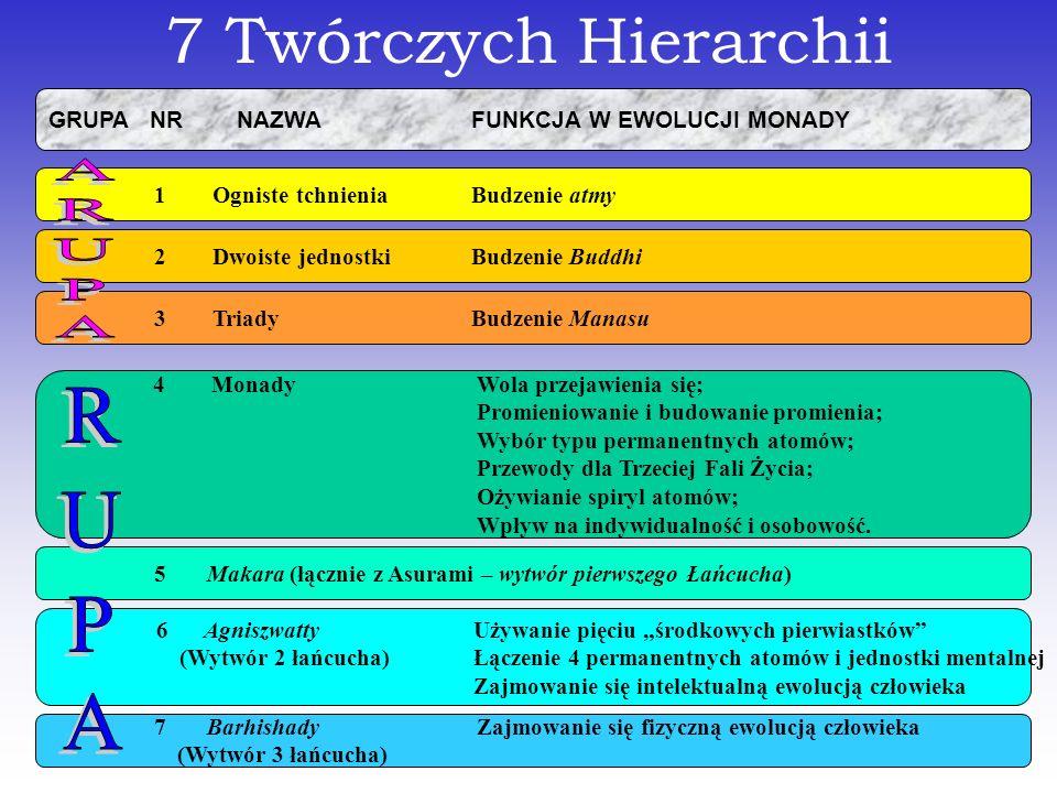 7 Twórczych Hierarchii GRUPA NR NAZWA FUNKCJA W EWOLUCJI MONADY 1 Ogniste tchnienia Budzenie atmy 2 Dwoiste jednostkiBudzenie Buddhi 3 Triady Budzenie