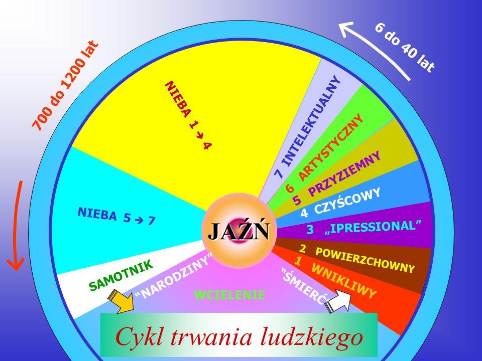JAŹŃ Cykl trwania ludzkiego ŚMIERĆ 1 WNIKLIWY 2 POWIERZCHOWNY 3 IPRESSIONAL 4 CZYŚCOWY 5 PRZYZIEMNY 6 ARTYSTYCZNY 7 INTELEKTUALNY NIEBA 1 4 NIEBA 5 7