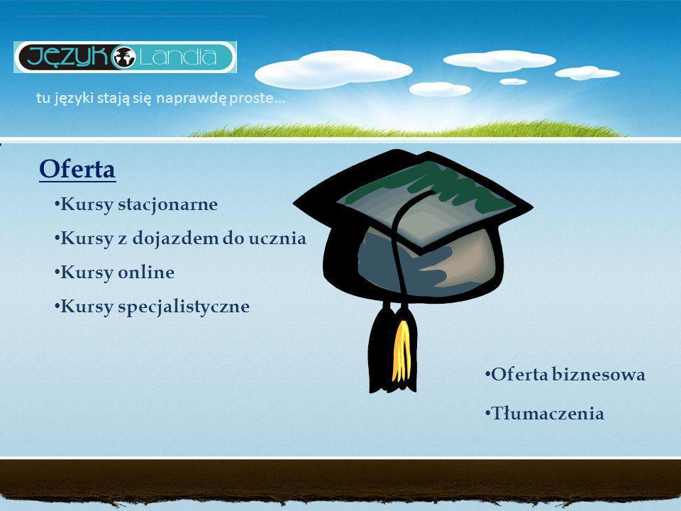 Kursy stacjonarne Kursy z dojazdem do ucznia Kursy online Kursy specjalistyczne tu języki stają się naprawdę proste… Oferta Oferta biznesowa Tłumaczenia
