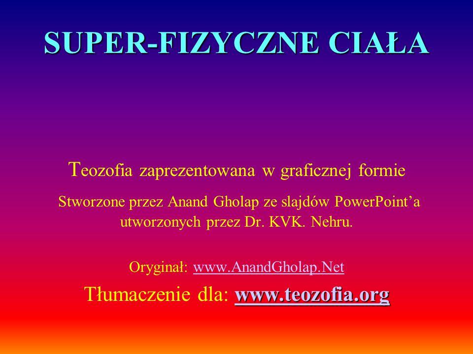 SUPER-FIZYCZNE CIAŁA T eozofia zaprezentowana w graficznej formie Stworzone przez Anand Gholap ze slajdów PowerPointa utworzonych przez Dr. KVK. Nehru