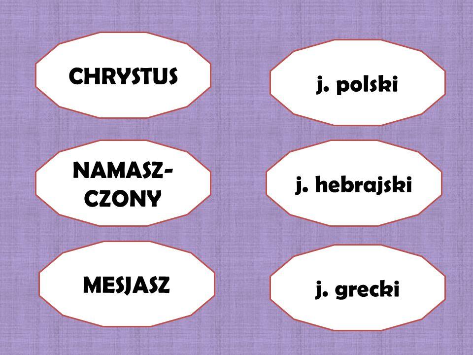 CHRYSTUS NAMASZ- CZONY MESJASZ j. hebrajski j. polski j. grecki