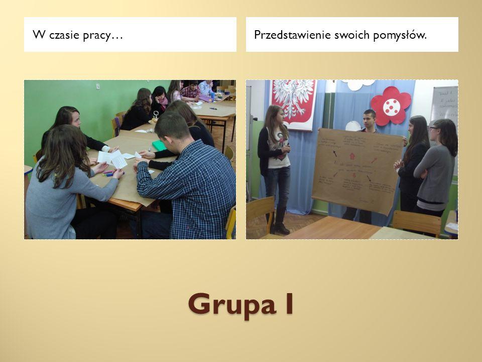 Grupa II W czasie pracy…Przedstawienie swoich pomysłów.