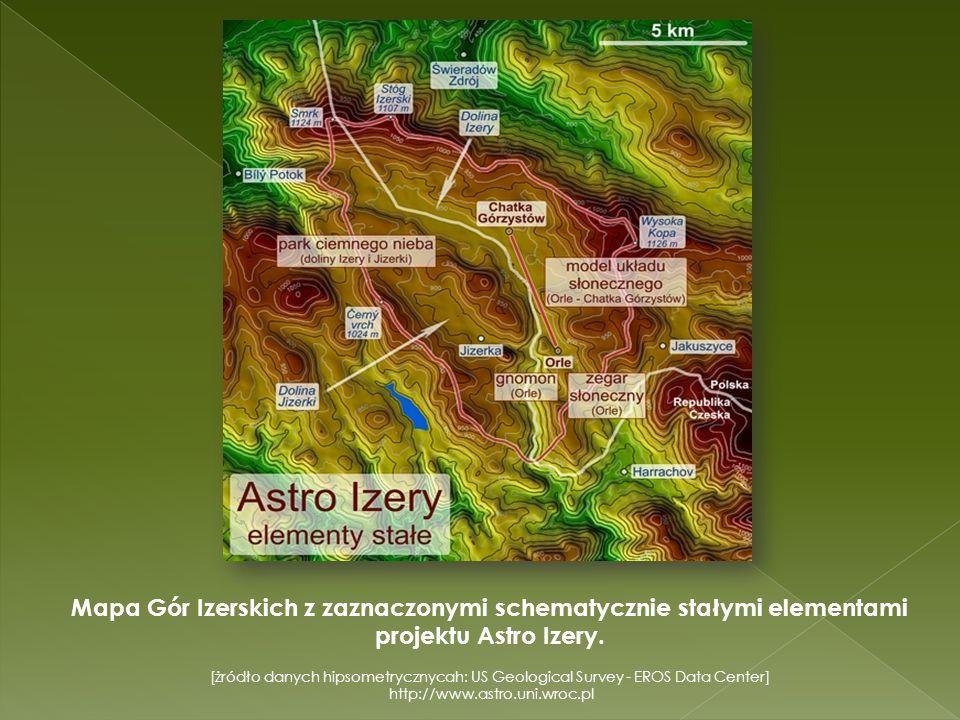 Mapa Gór Izerskich z zaznaczonymi schematycznie stałymi elementami projektu Astro Izery. [żródło danych hipsometrycznycah: US Geological Survey - EROS