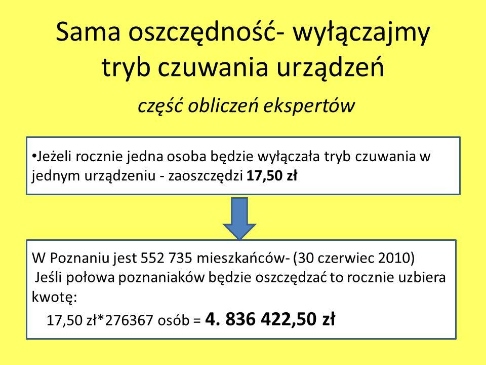 Sama oszczędność- wyłączajmy tryb czuwania urządzeń część obliczeń ekspertów Jeżeli rocznie jedna osoba będzie wyłączała tryb czuwania w jednym urządzeniu - zaoszczędzi 17,50 zł W Poznaniu jest 552 735 mieszkańców- (30 czerwiec 2010) Jeśli połowa poznaniaków będzie oszczędzać to rocznie uzbiera kwotę: 17,50 zł*276367 osób = 4.