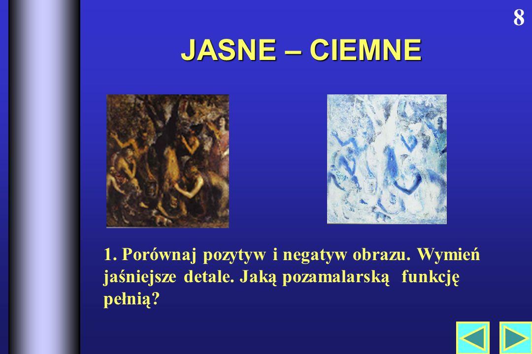 JASNE – CIEMNE 8 1.Porównaj pozytyw i negatyw obrazu.
