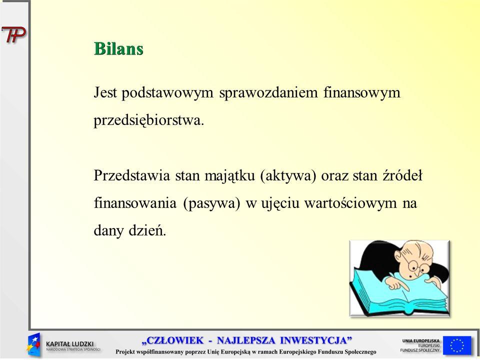 Bilans Jest podstawowym sprawozdaniem finansowym przedsiębiorstwa. Przedstawia stan majątku (aktywa) oraz stan źródeł finansowania (pasywa) w ujęciu w