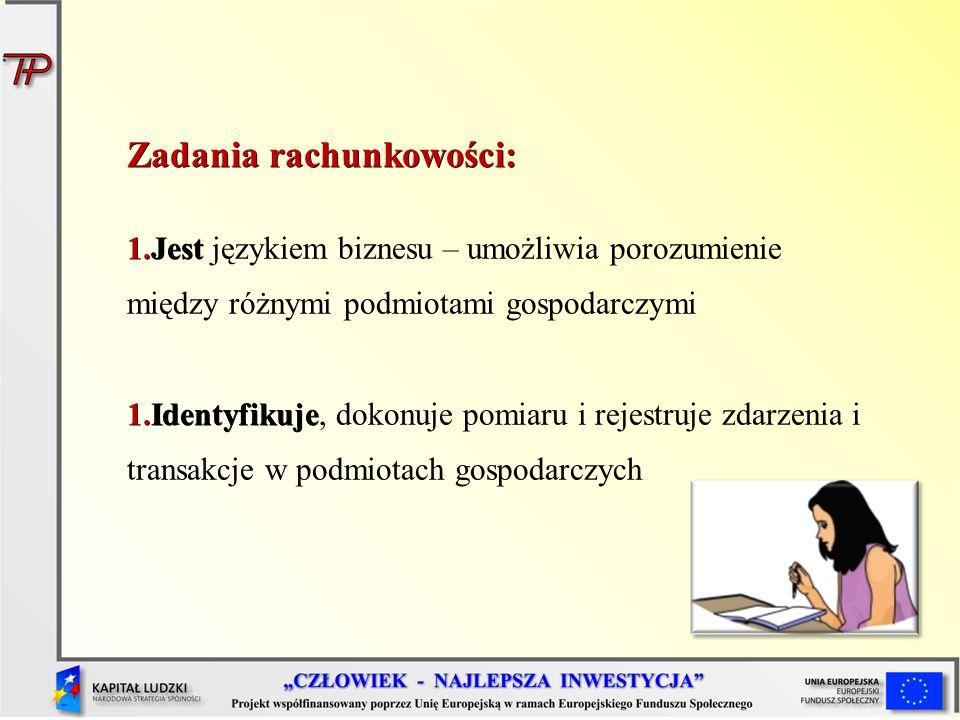 Zadania rachunkowości: 1.Jest 1.Jest językiem biznesu – umożliwia porozumienie między różnymi podmiotami gospodarczymi 1.Identyfikuje 1.Identyfikuje,