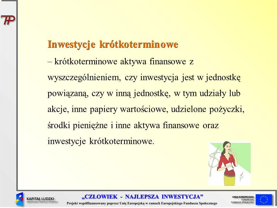 Inwestycje krótkoterminowe Inwestycje krótkoterminowe – krótkoterminowe aktywa finansowe z wyszczególnieniem, czy inwestycja jest w jednostkę powiązan