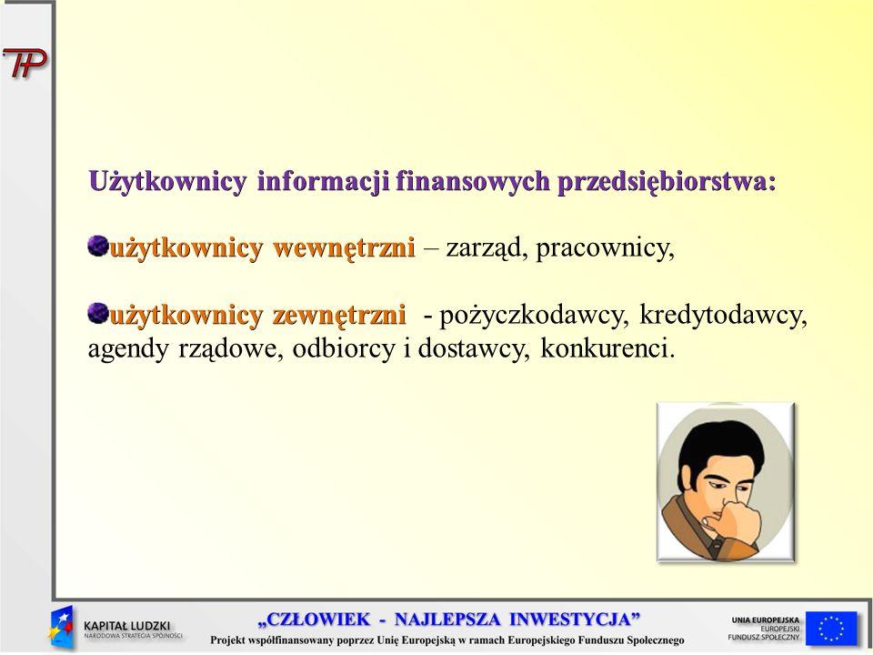 Użytkownicy informacji finansowych przedsiębiorstwa: użytkownicy wewnętrzni użytkownicy wewnętrzni – zarząd, pracownicy, użytkownicy zewnętrzni użytko