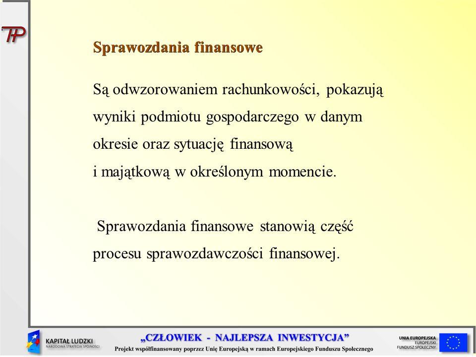 Sprawozdania finansowe Są odwzorowaniem rachunkowości, pokazują wyniki podmiotu gospodarczego w danym okresie oraz sytuację finansową i majątkową w ok