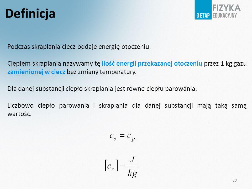 20 Definicja Podczas skraplania ciecz oddaje energię otoczeniu. Ciepłem skraplania nazywamy tę ilość energii przekazanej otoczeniu przez 1 kg gazu zam