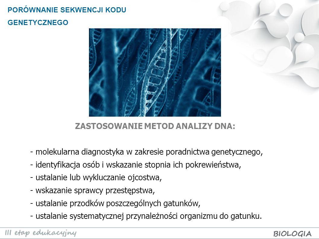 PORÓWNANIE SEKWENCJI KODU GENETYCZNEGO ZASTOSOWANIE METOD ANALIZY DNA: - molekularna diagnostyka w zakresie poradnictwa genetycznego, - identyfikacja