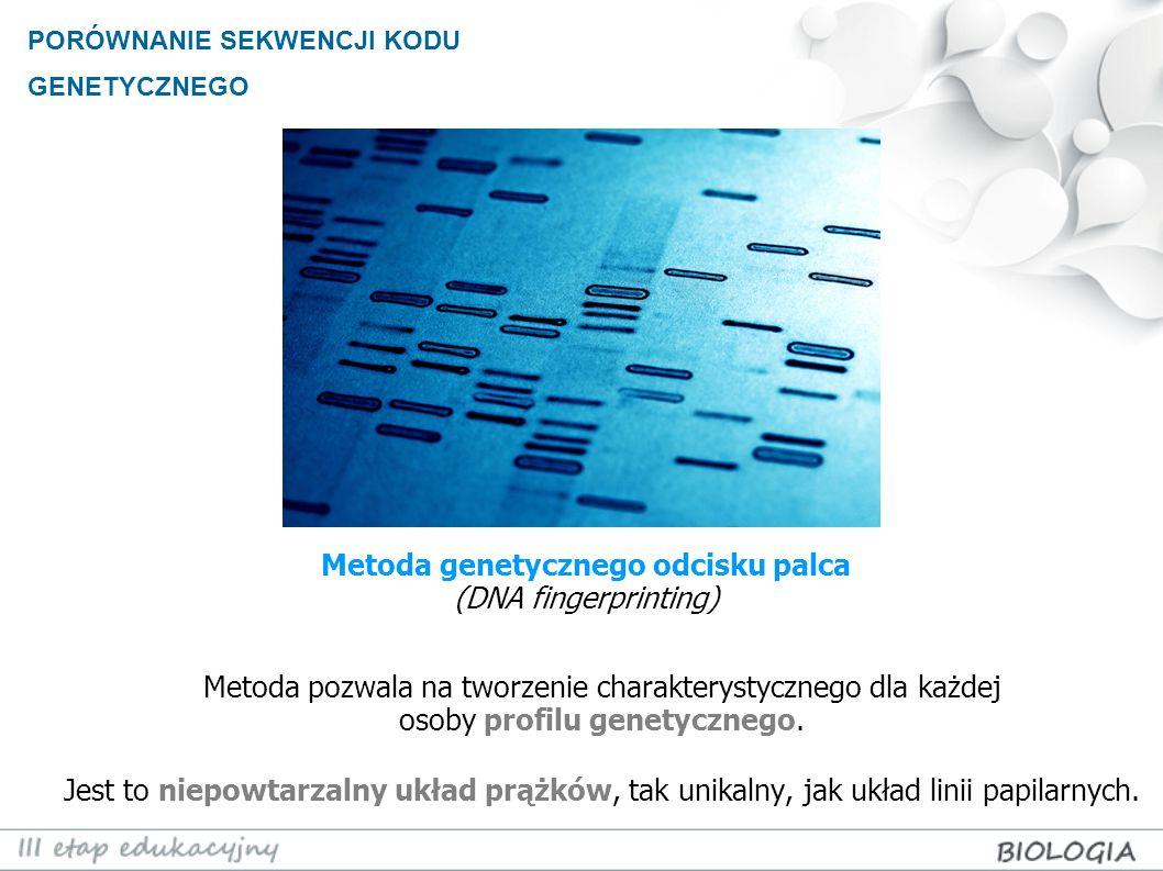 Metoda pozwala na tworzenie charakterystycznego dla każdej osoby profilu genetycznego. Jest to niepowtarzalny układ prążków, tak unikalny, jak układ l