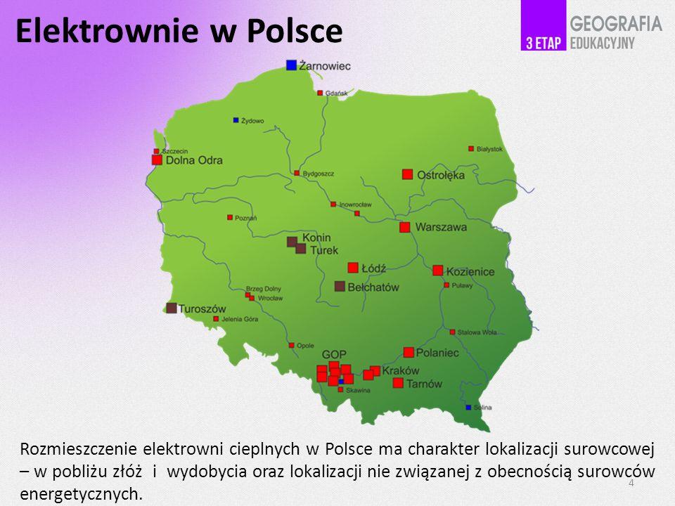Elektrownie w Polsce Rozmieszczenie elektrowni cieplnych w Polsce ma charakter lokalizacji surowcowej – w pobliżu złóż i wydobycia oraz lokalizacji ni