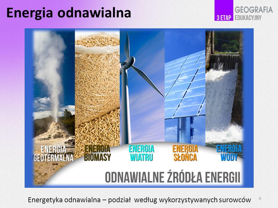 Energia odnawialna Energetyka odnawialna – podział według wykorzystywanych surowców. 6