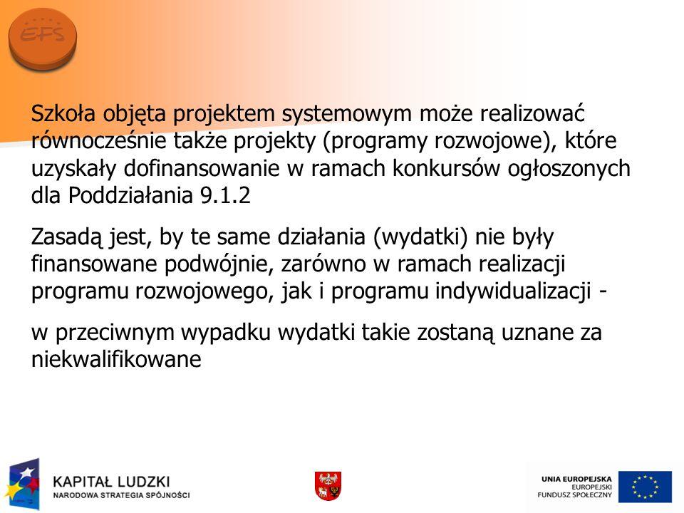 Szkoła objęta projektem systemowym może realizować równocześnie także projekty (programy rozwojowe), które uzyskały dofinansowanie w ramach konkursów