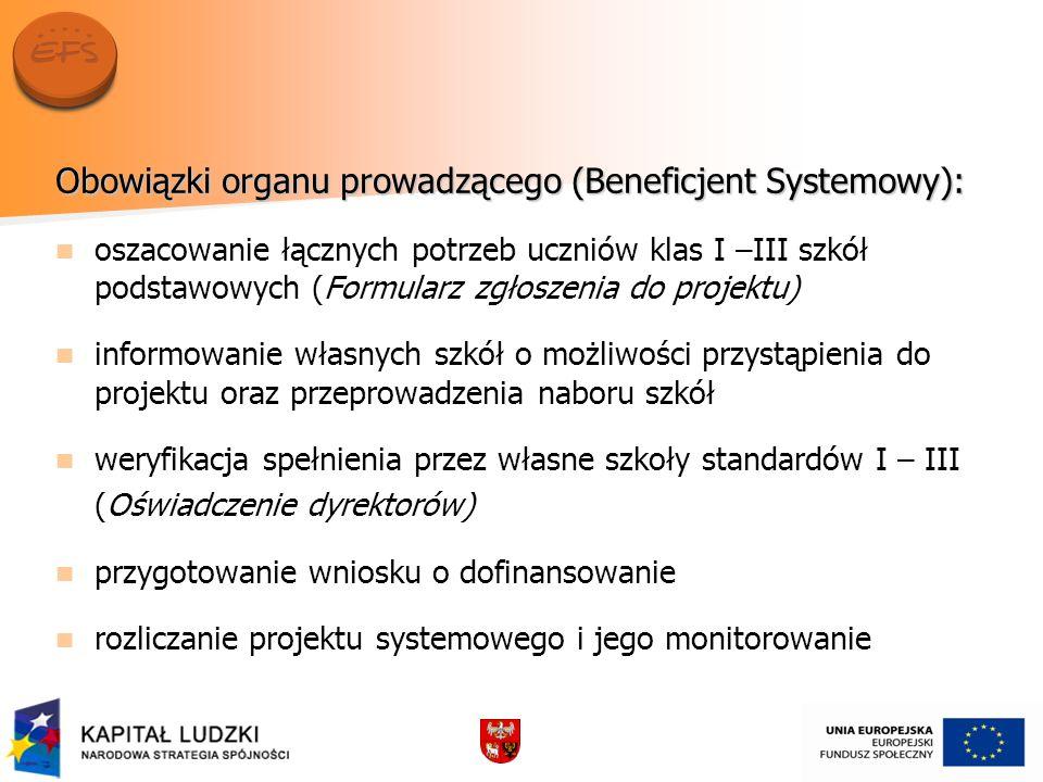 Obowiązki organu prowadzącego (Beneficjent Systemowy): oszacowanie łącznych potrzeb uczniów klas I –III szkół podstawowych (Formularz zgłoszenia do pr
