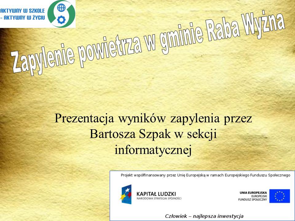Prezentacja wyników zapylenia przez Bartosza Szpak w sekcji informatycznej