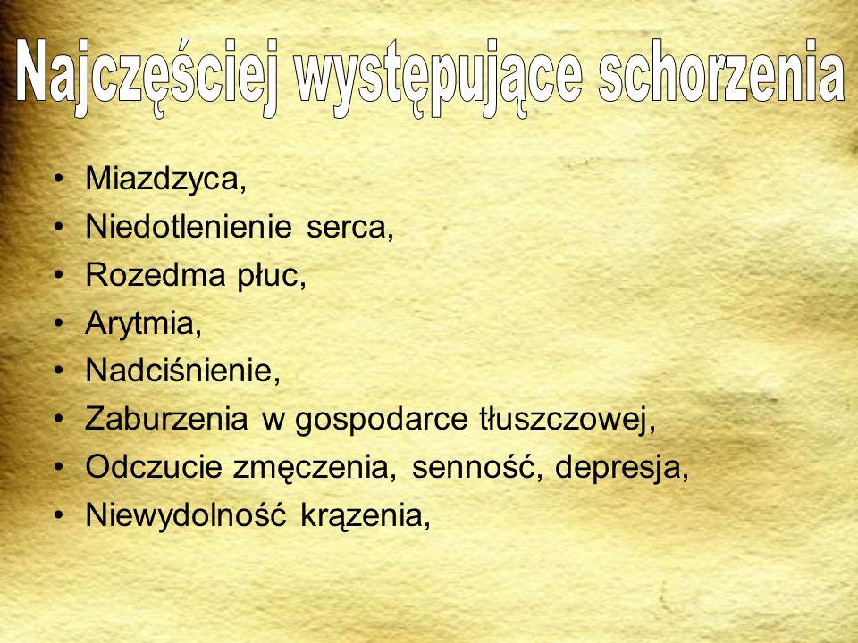 Miazdzyca, Niedotlenienie serca, Rozedma płuc, Arytmia, Nadciśnienie, Zaburzenia w gospodarce tłuszczowej, Odczucie zmęczenia, senność, depresja, Niew
