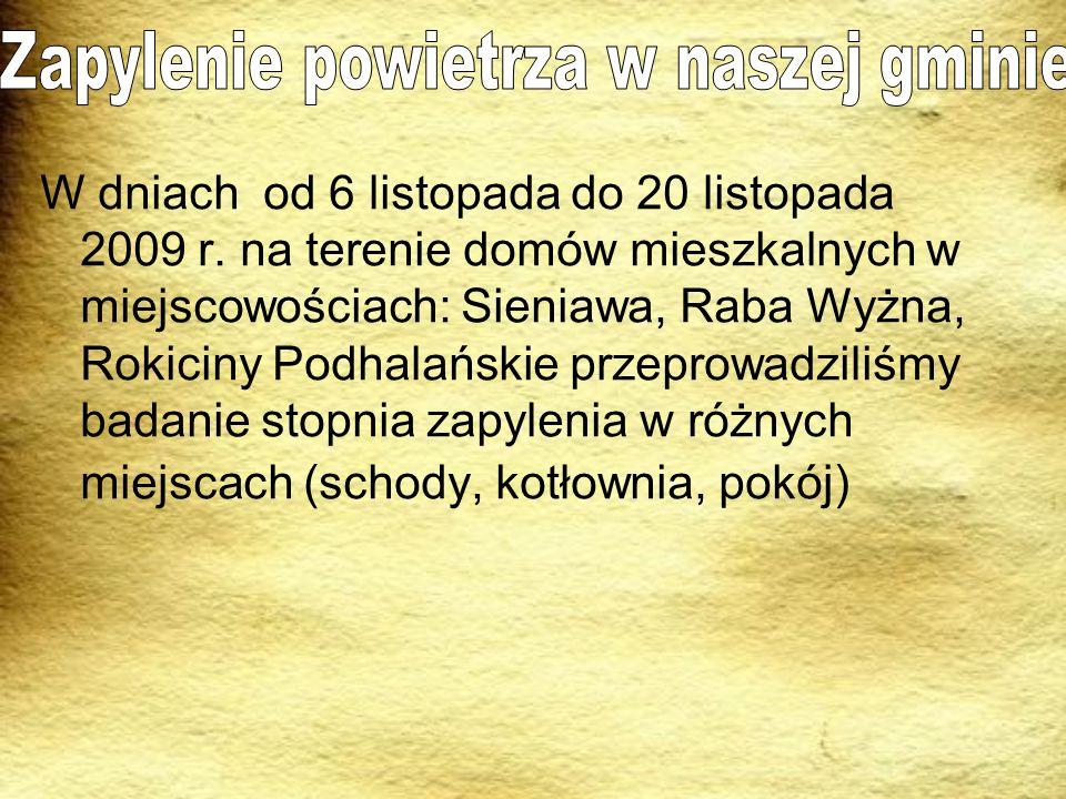 W dniach od 6 listopada do 20 listopada 2009 r. na terenie domów mieszkalnych w miejscowościach: Sieniawa, Raba Wyżna, Rokiciny Podhalańskie przeprowa