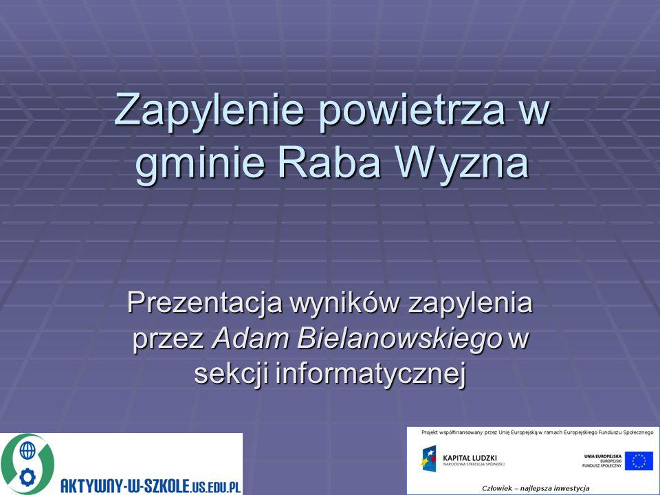 Zapylenie powietrza w gminie Raba Wyzna Prezentacja wyników zapylenia przez Adam Bielanowskiego w sekcji informatycznej