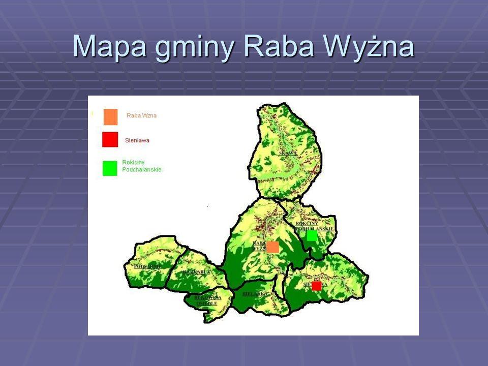 Mapa gminy Raba Wyżna