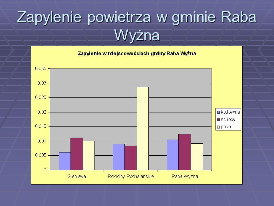 Maksymalne i minimalne zapylenie w gminie Raba Wyżna