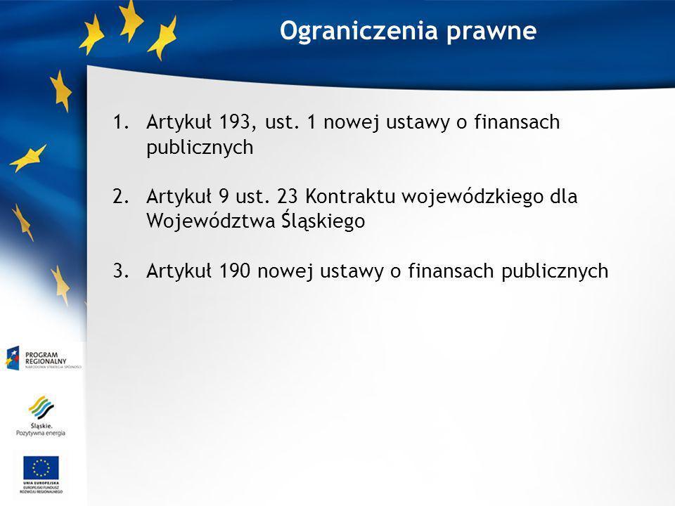Ograniczenia prawne 1.Artykuł 193, ust. 1 nowej ustawy o finansach publicznych 2.Artykuł 9 ust. 23 Kontraktu wojewódzkiego dla Województwa Śląskiego 3