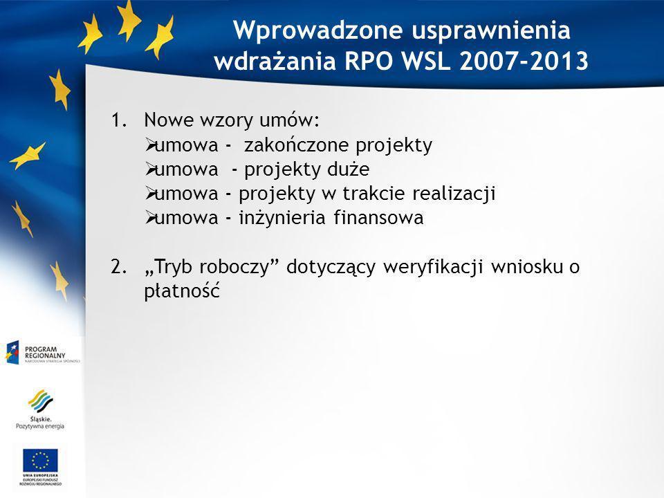 Wprowadzone usprawnienia wdrażania RPO WSL 2007-2013 1.Nowe wzory umów: umowa - zakończone projekty umowa - projekty duże umowa - projekty w trakcie realizacji umowa - inżynieria finansowa 2.Tryb roboczy dotyczący weryfikacji wniosku o płatność