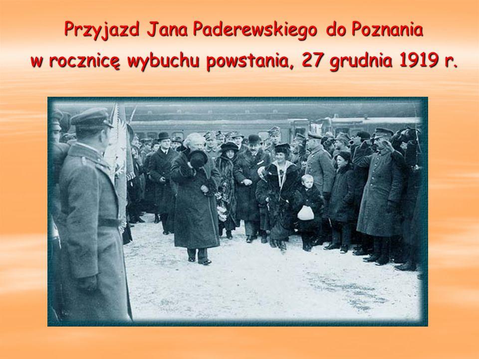 Przyjazd Jana Paderewskiego do Poznania w rocznicę wybuchu powstania, 27 grudnia 1919 r.