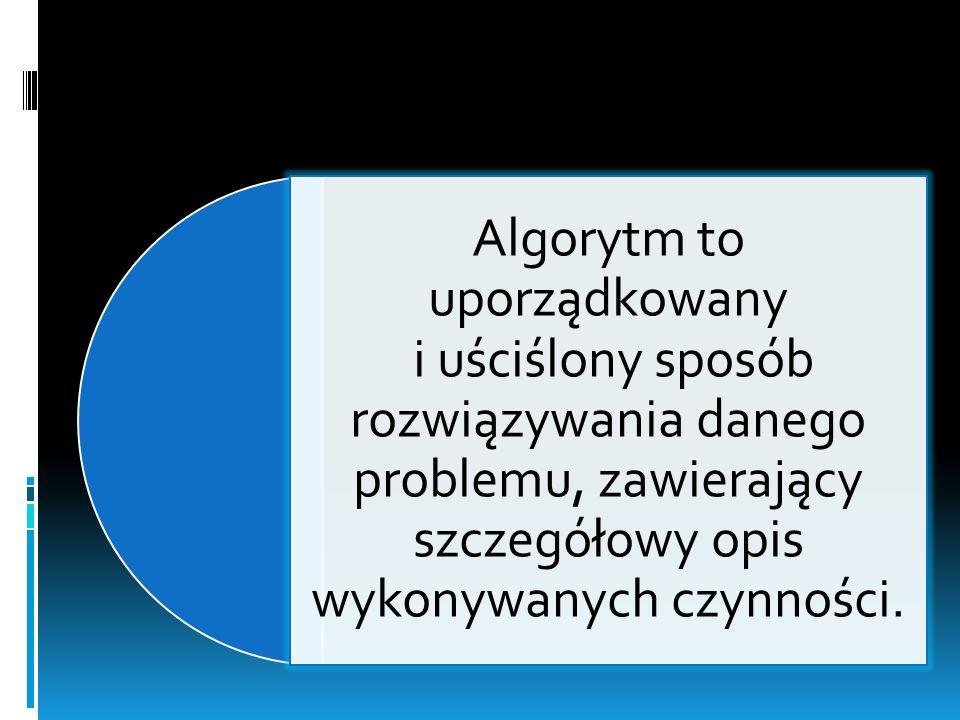 Algorytm to uporządkowany i uściślony sposób rozwiązywania danego problemu, zawierający szczegółowy opis wykonywanych czynności.