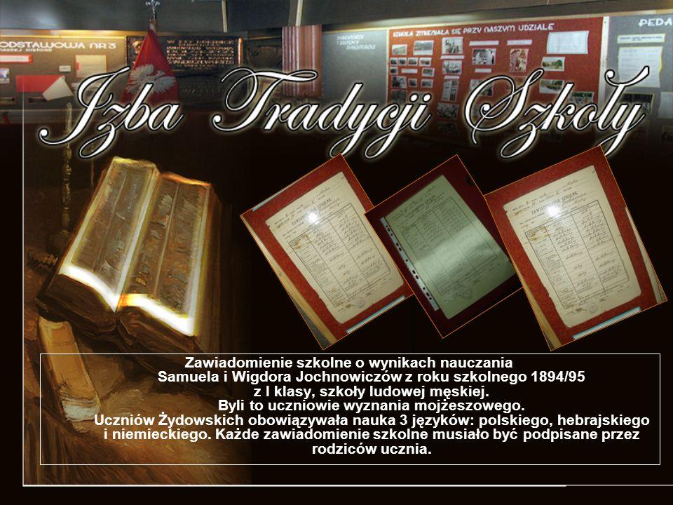 Zawiadomienie szkolne o wynikach nauczania Samuela i Wigdora Jochnowiczów z roku szkolnego 1894/95 z I klasy, szkoły ludowej męskiej.