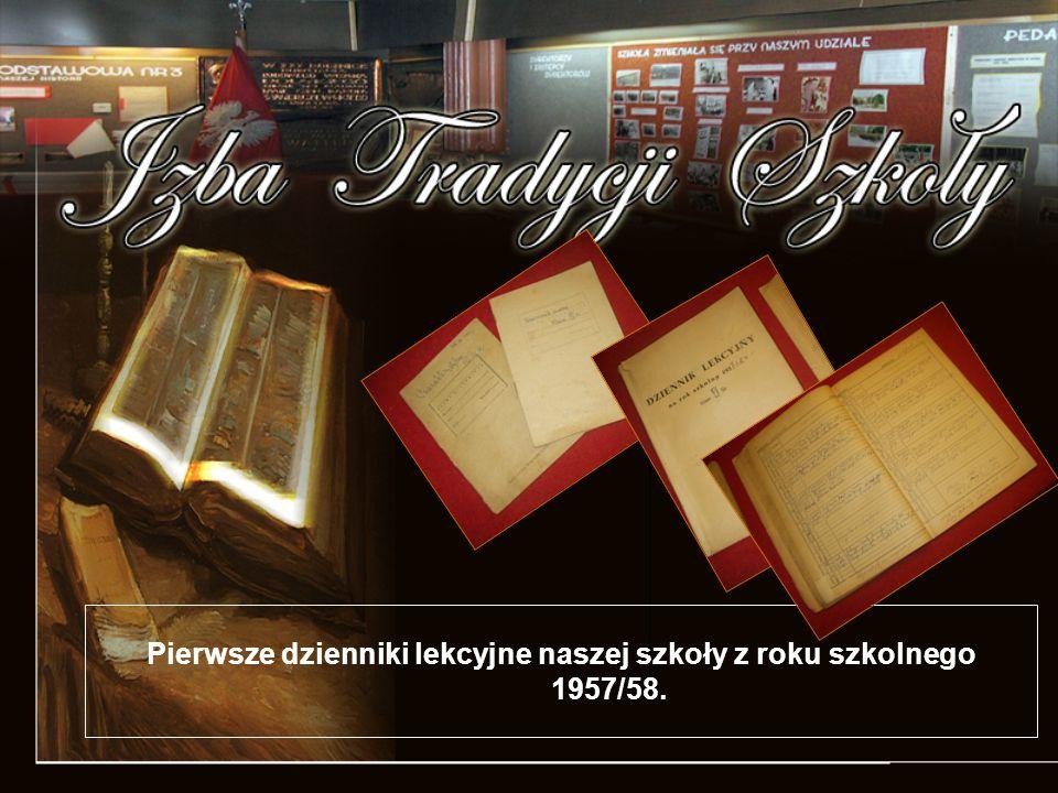 Pierwsze dzienniki lekcyjne naszej szkoły z roku szkolnego 1957/58.