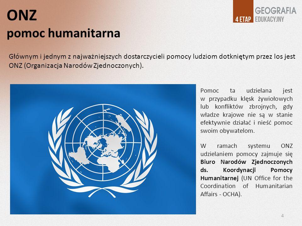 ONZ pomoc humanitarna Pomoc ta udzielana jest w przypadku klęsk żywiołowych lub konfliktów zbrojnych, gdy władze krajowe nie są w stanie efektywnie dz