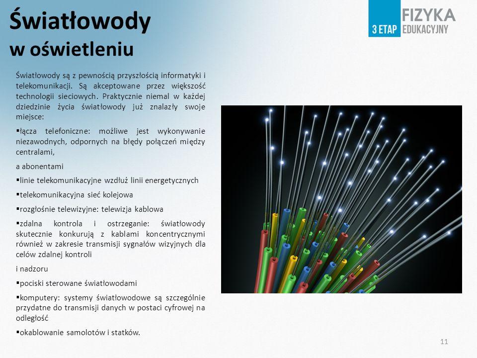 11 Światłowody w oświetleniu Światłowody są z pewnością przyszłością informatyki i telekomunikacji. Są akceptowane przez większość technologii sieciow