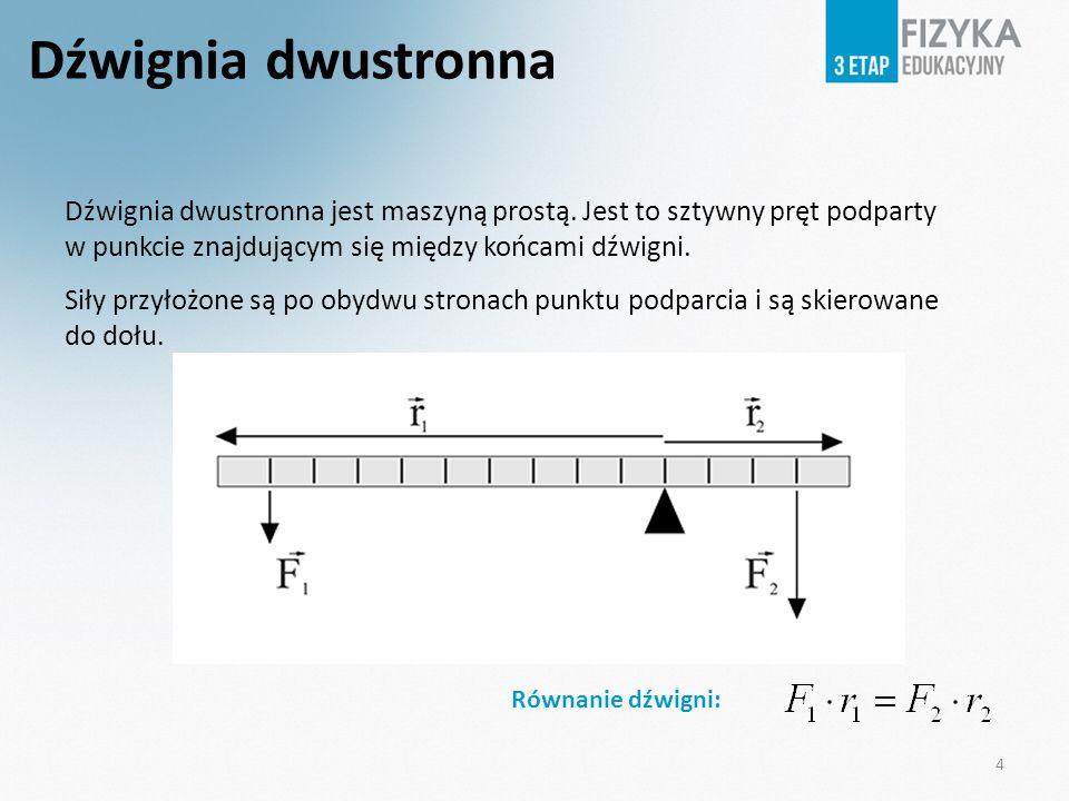 Dźwignia dwustronna jest maszyną prostą. Jest to sztywny pręt podparty w punkcie znajdującym się między końcami dźwigni. Siły przyłożone są po obydwu