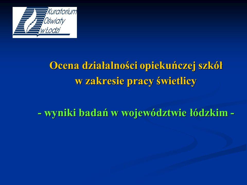 Ocena działalności opiekuńczej szkół w zakresie pracy świetlicy - wyniki badań w województwie łódzkim -