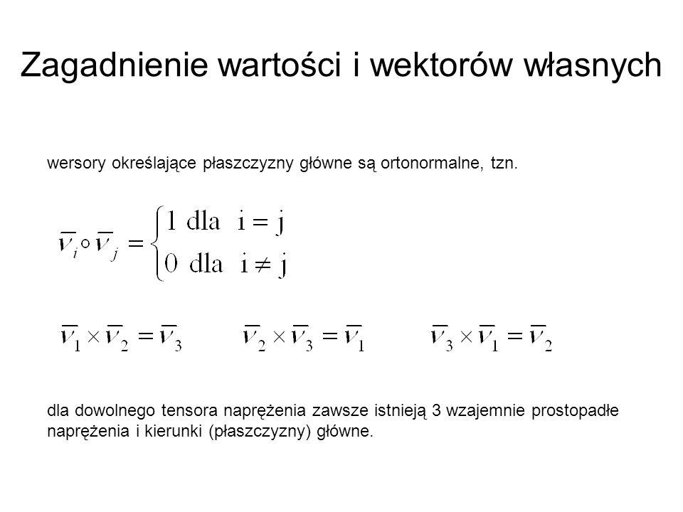 Zagadnienie wartości i wektorów własnych wersory określające płaszczyzny główne są ortonormalne, tzn. dla dowolnego tensora naprężenia zawsze istnieją