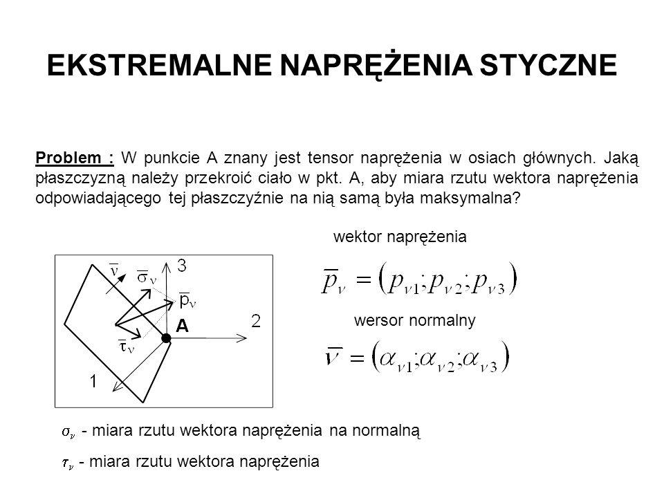 EKSTREMALNE NAPRĘŻENIA STYCZNE Problem : W punkcie A znany jest tensor naprężenia w osiach głównych. Jaką płaszczyzną należy przekroić ciało w pkt. A,