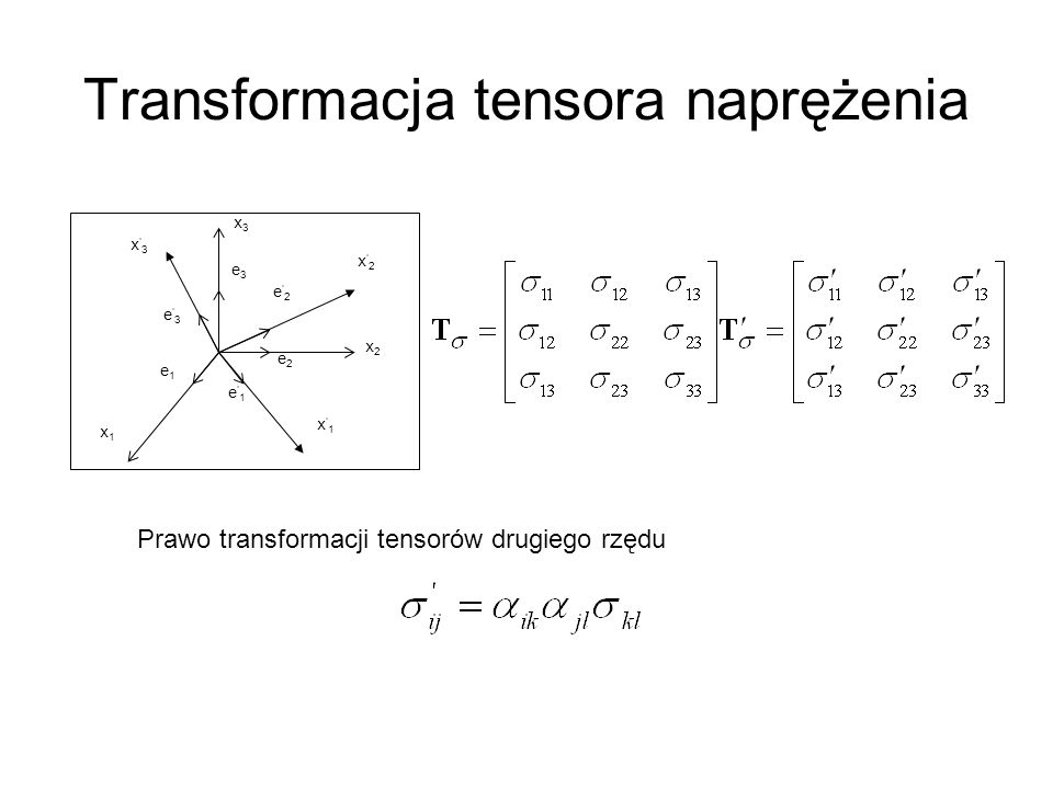 Transformacja tensora naprężenia x 2 x 1 x 3 x2x2 x1x1 x3x3 e 1 e 2 e 3 e2e2 e1e1 e3e3 Prawo transformacji tensorów drugiego rzędu