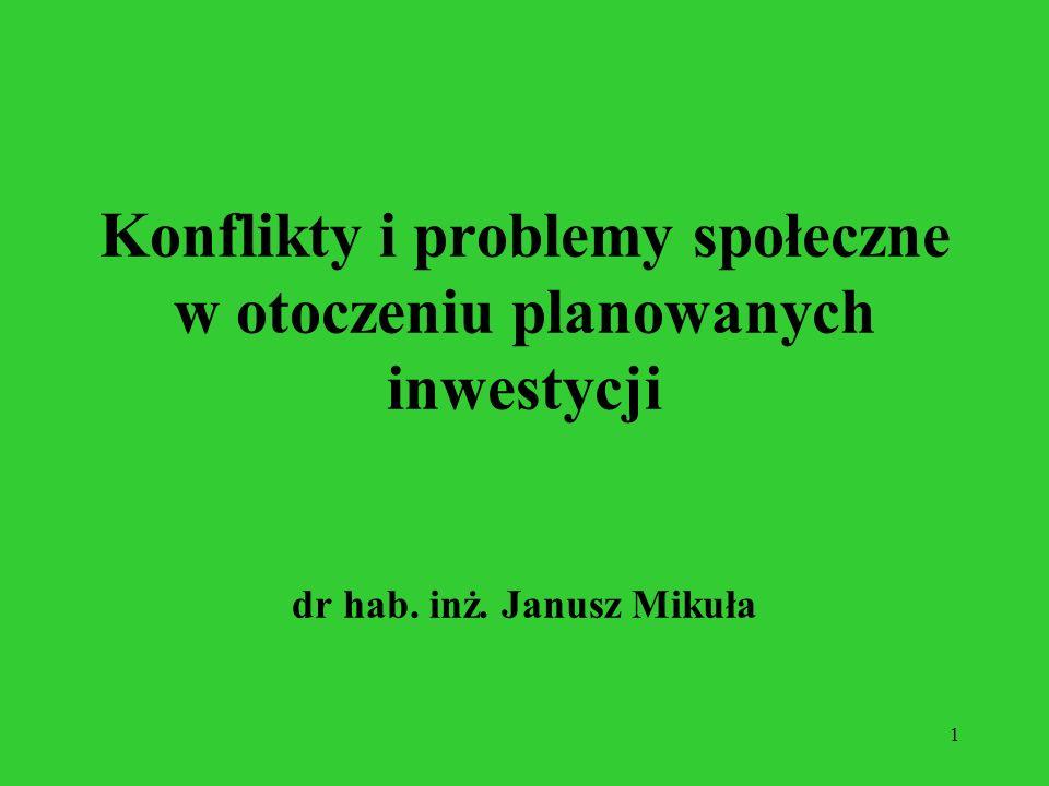 1 Konflikty i problemy społeczne w otoczeniu planowanych inwestycji dr hab. inż. Janusz Mikuła
