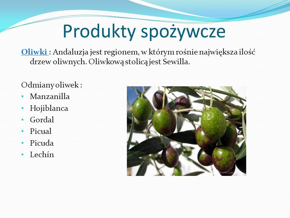 Produkty spożywcze Oliwki : Andaluzja jest regionem, w którym rośnie największa ilość drzew oliwnych.