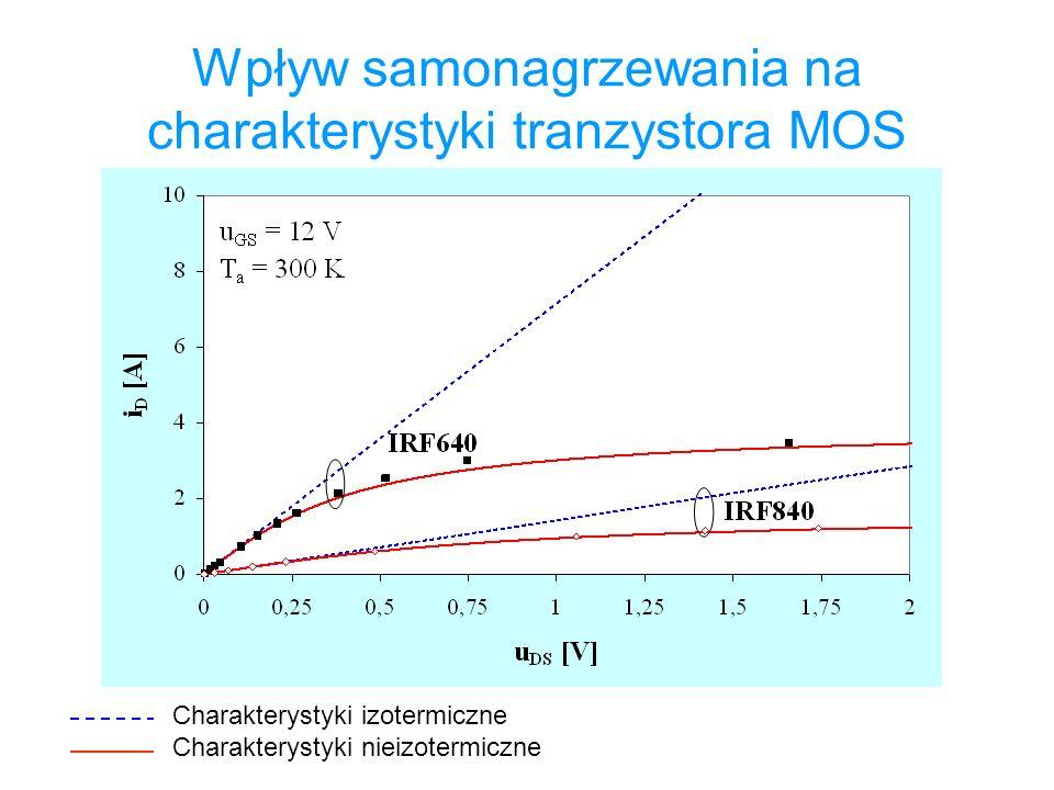 Wpływ samonagrzewania na charakterystyki tranzystora MOS Charakterystyki izotermiczne Charakterystyki nieizotermiczne