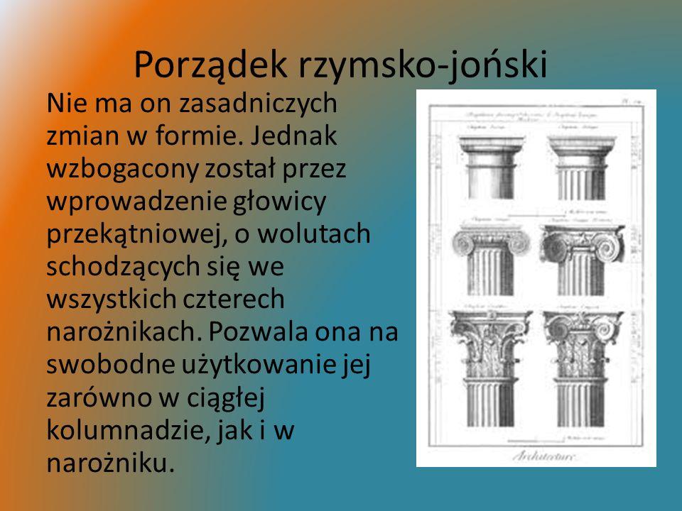 Porządek rzymsko-joński Nie ma on zasadniczych zmian w formie. Jednak wzbogacony został przez wprowadzenie głowicy przekątniowej, o wolutach schodzący