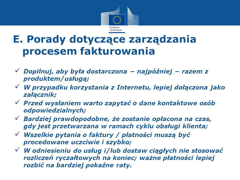 E. Porady dotyczące zarządzania procesem fakturowania Dopilnuj, aby była dostarczona najpóźniej razem z produktem/usługą; W przypadku korzystania z In